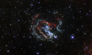 The Hubble Space Telescope spotted a growing, gaseous supernova remnant, known as 1E 0102.2-7219, from a supernova explosion that occurred 1,700 years ago during the fall of the Roman Empire. The star that exploded in the event was from the Small Magellanic Cloud, a satellite galaxy to our own Milky Way Galaxy located about 200,000 light-years away. At the time of the supernova event, people living in Earth's southern hemisphere would have been able to see the light coming from this blast, though there are no known records of the event from humans on Earth.