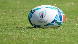 Official Japan 2019 Rugby World Cup balls are seen on the pitch during a Japan team training session at the Prince Chichibu Memorial Rugby Stadium in Tokyo on September 17, 2019, ahead of the tournament.