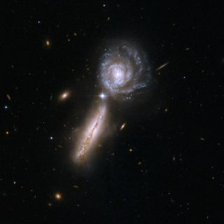 The galaxy pair UGC 9618 and VV 340, two spiral galaxies at the beginning of a collision.