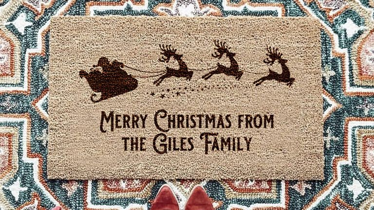 Stacey Solomon x Amazon Handmade: Personalised Santa's Sleigh Family Door Mat for Christmas