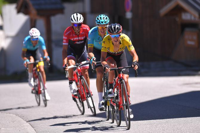 Richie Porte (BMC) leads Jakob Fuglsang and Alberto Contador.
