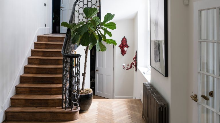 Hallway with wrought iron staircase and houseplant