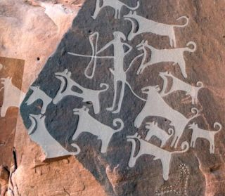 This composite image of a panel of rock art discovered in Saudi Arabia shows a hunter with 13 dogs (right side) and scene with a hunter, a large equid and eight dogs (left side). The top image shows the engravings traced in white.