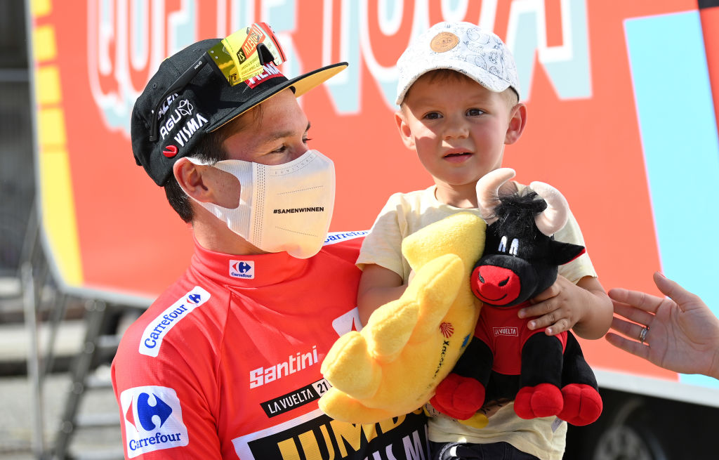 MONFORTE DE LEMOS SPAIN SEPTEMBER 03 Primoz Roglic of Slovenia and Team Jumbo Visma red leader jersey celebrates with his son Levom after the 76th Tour of Spain 2021 Stage 19 a 1912 km stage from Tapia to Monforte de Lemos lavuelta LaVuelta21 on September 03 2021 in Monforte de Lemos Spain Photo by Stuart FranklinGetty Images