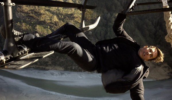 Mission: Impossible - Fallout Tom Cruise Ethan Hunt hanging off of a helicopter's railing
