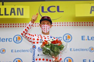 Michael Woods of Israel Start-Up Nation in the Polka Dot Mountain Jersey after stage 14