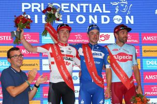 Elia Viviani takes centre stage after winning the 2019 RideLondon classic