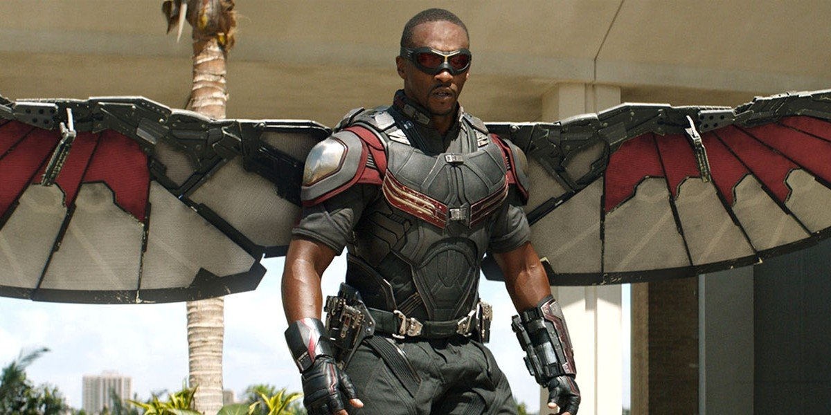 Anthony Mackie as The Falcon in Civil War's opening sequence