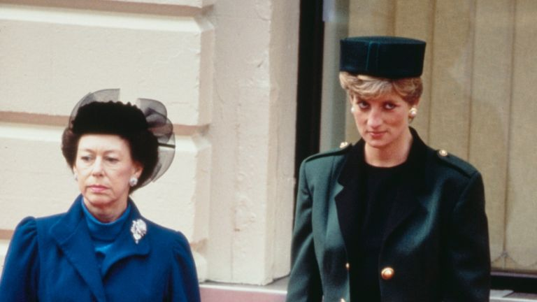Princess Margaret (1930 - 2002) and Diana, Princess of Wales (1961 - 1997) wait at Victoria Station in London for the arrival of Italian President Francesco Cossiga on a State Visit, October 1990. Diana is wearing a green suit by Moschino. (Photo by Princess Diana Archive/Getty Images)