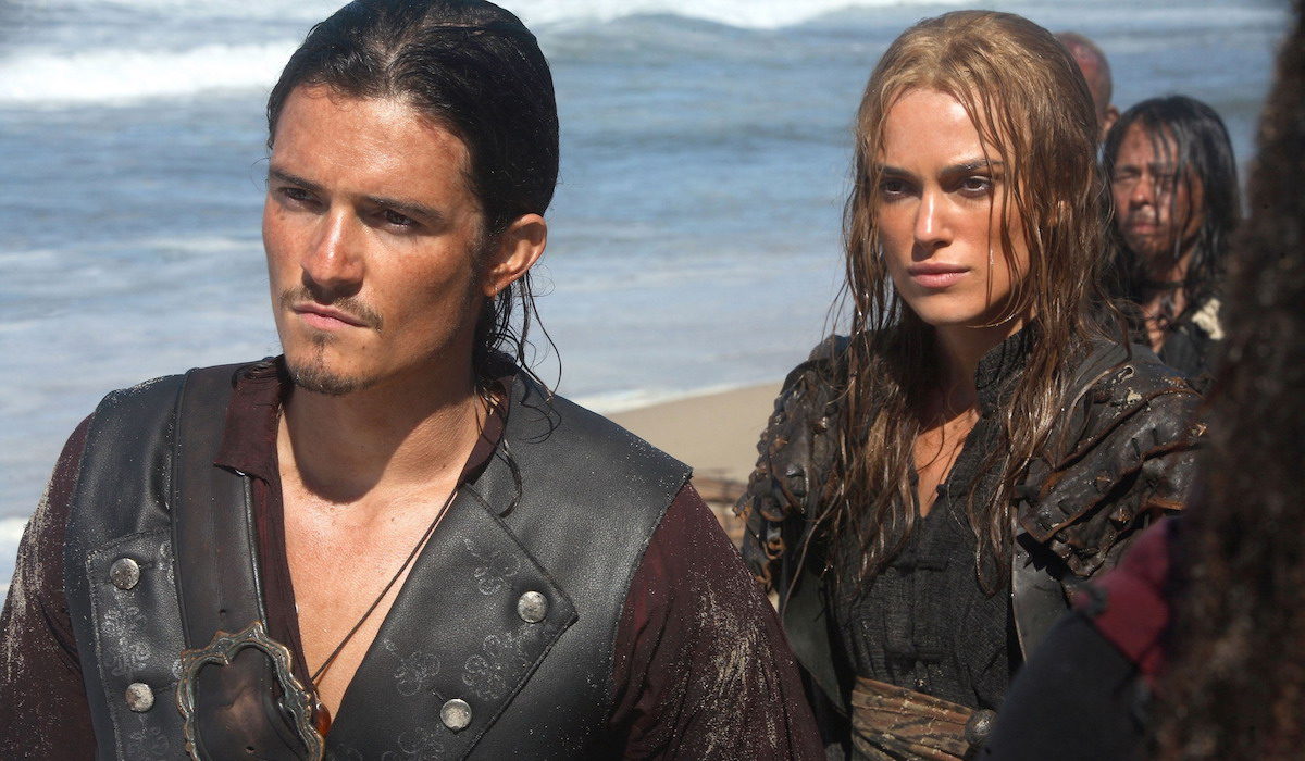 Orlando Bloom and Kiera Knightley as Will Turner and Elizabeth Swann in Pirates of the Caribbean