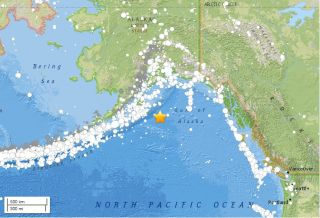 A major earthquake hit Alaska, about 163 miles (262 kilometers) southeast of Chiniak and 360 miles (578 km) south of Anchorage, on Jan. 23, 2018.