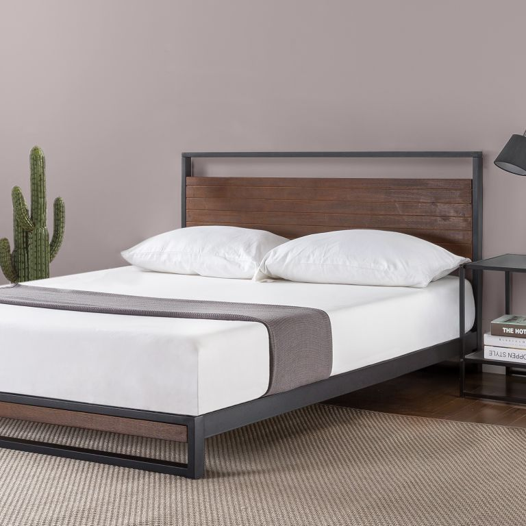 Walmart furniture: Zinus Suzanne Metal and Wood Platform Bed with Headboard