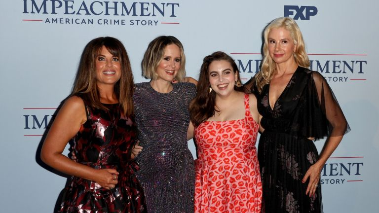"""Monica Lewinsky, Sarah Paulson, Beanie Feldstein and Mira Sorvino attend the premiere of FX's """"Impeachment: American Crime Story"""" at Pacific Design Center on September 01, 2021 in West Hollywood, California."""