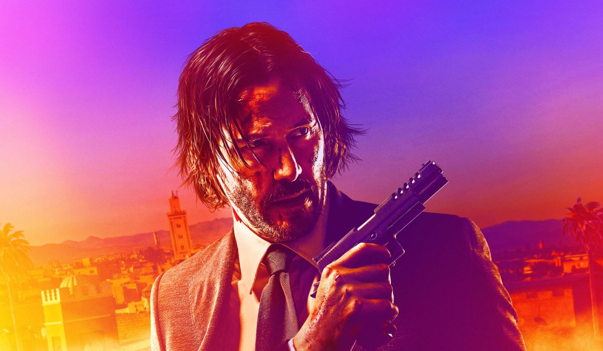 John Wick: Chapter 3 Parabellum John with his gun in a colorful picture