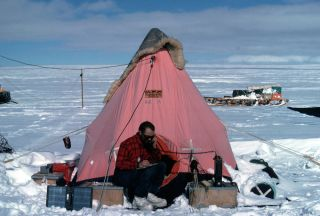 Robert Mulvaney of the British Antarctic Survey camps out on the ice in Antarctica