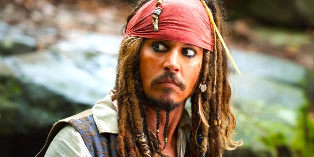 Pirates of the Caribbean Johnny Depp looks concerned as Captain Jack Sparrow