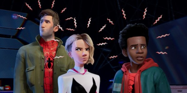 Spider-Man: Into The Spider-Verse Peter Parker Gwen Stacy and Miles Morales feel their spider senses