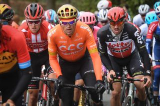 Olympic road race champion Greg Van Avermaet (CCC Team, centre) at the 2020 Kuurne-Brussel-Kuurne