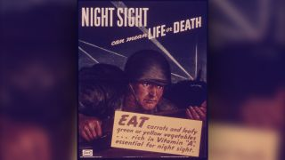 A World War II poster touting carrots and other vitamin-rich vegetables.