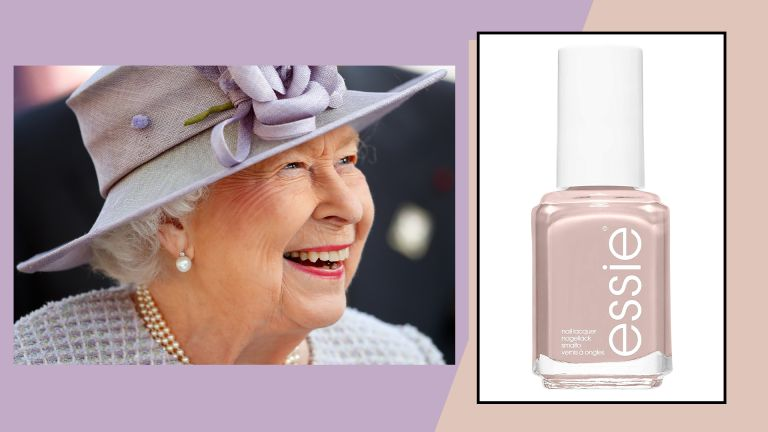 image of queen smiling on a lilac background next to essie ballet slipper nail polish on a beige background