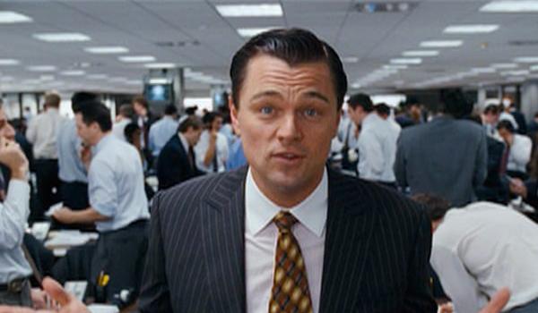Leonardo DiCaprio telling the story of Jordan Belfort in The Wolf Of Wall Street