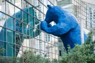 "The ""Blue Bear"" outside of the convention center in Denver, Colorado."
