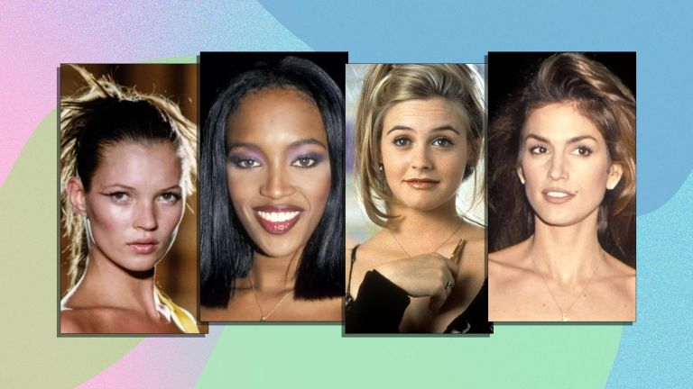 A selection of the best 90s hairstyles including (from left to right) kate moss on a catwalk, naomi campbell with a bob, alicia silverstone in the film clueless with a messy up do and cindy crawford with the ultimate 90s blowout