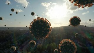 Giant Apocalyptic COVID-19 Coronavirus Molecules Flying Over Society.