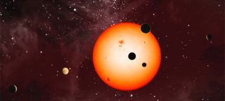 An artist's illustration of the extrasolar planets discovered around the star Kepler 11 by NASA's Kepler Space Telescope.