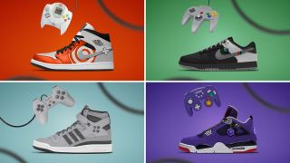 Four concept design shoes from The Sole Trader inspired by retro gaming consoles