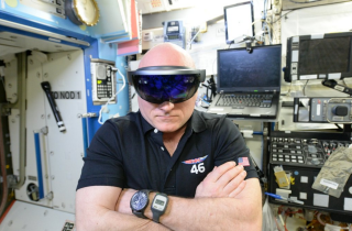 Astronaut Scott Kelly Trying on HoloLens