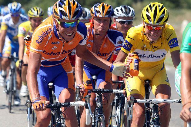 Thomas Dekker, Michael Boogerd and Michael Rasmussen during the 2007 Tour de France