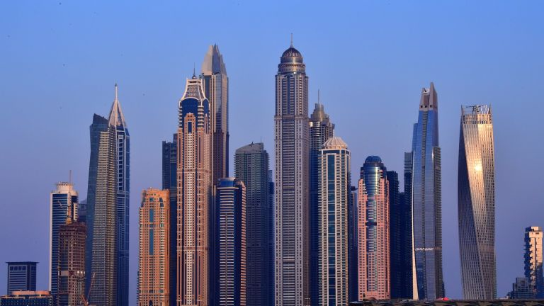 Dubai / picture taken on March 25, 2020 shows a skyline of skyscrapers in the Emirati city of Dubai