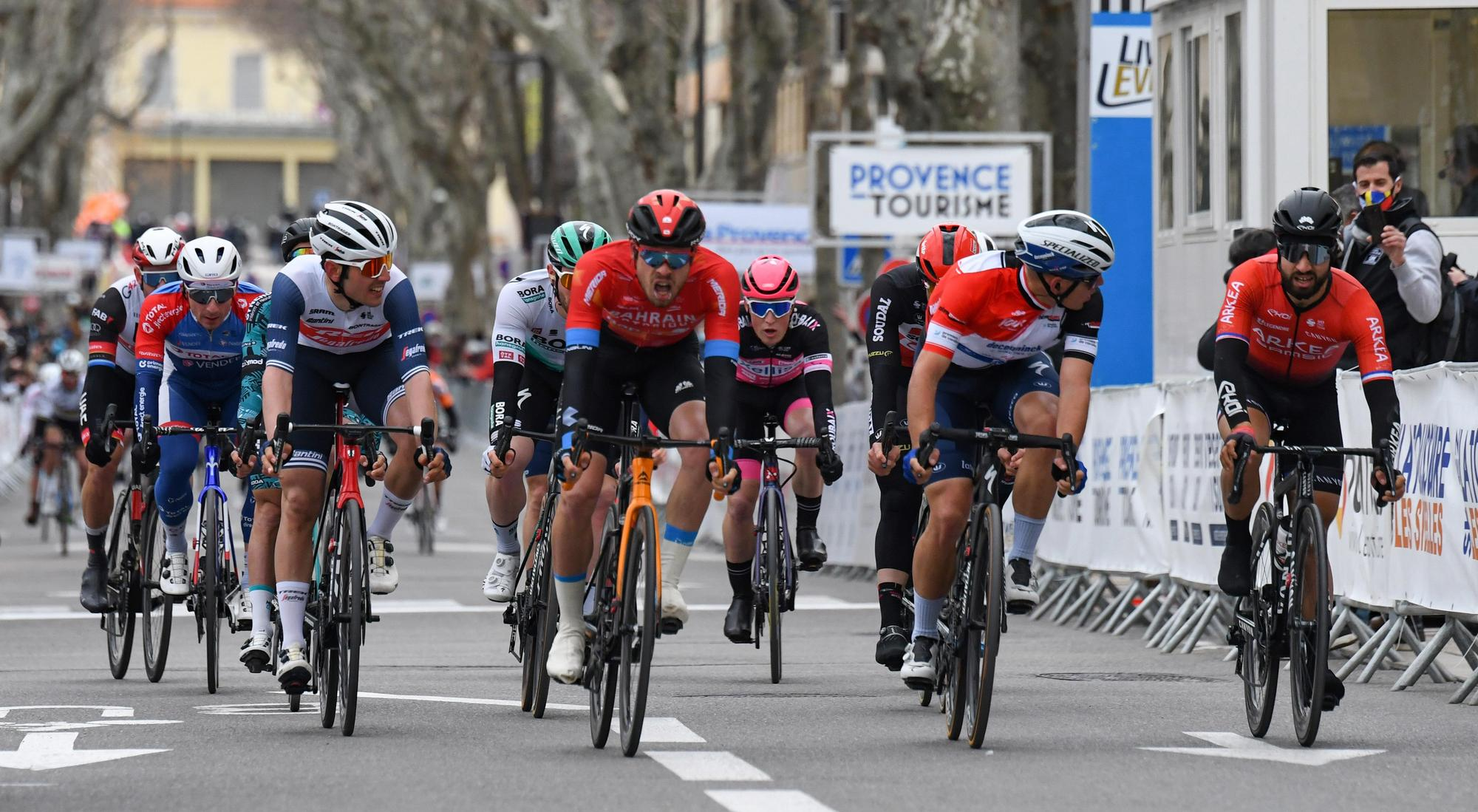 Tour de la Provence 2021 6th Edition 4th stage Avignon SalondeProvence 1632 km 14022021 Phil Bauhaus GER Bahrain Victorious Davide Ballerini ITA Deceuninck QuickStep Nacer Bouhanni FRA Team Arkea Samsic photo William Cannarella CVBettiniPhoto2021
