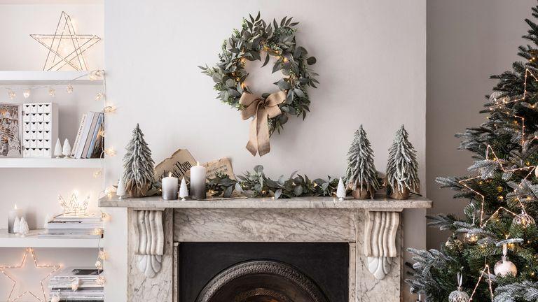 Christmas lighting safety: living room decorated for christmas