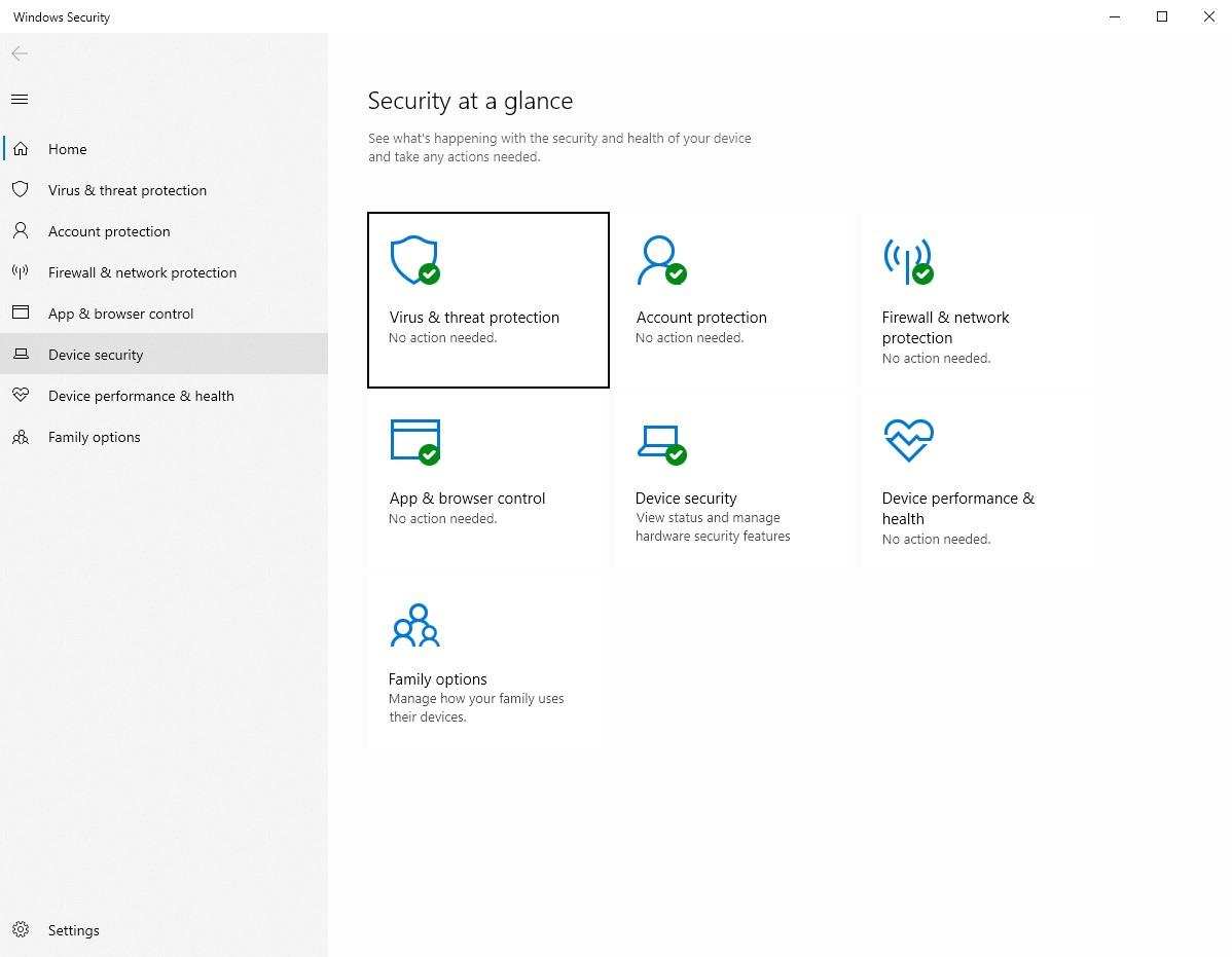 Okno zabezpečenia zariadenia vo Windows 10