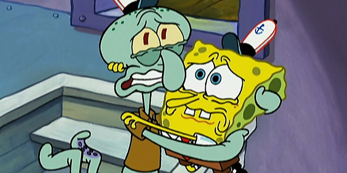Spongebob and Squidward in Graveyard Shift on Spongebob Squarepents.