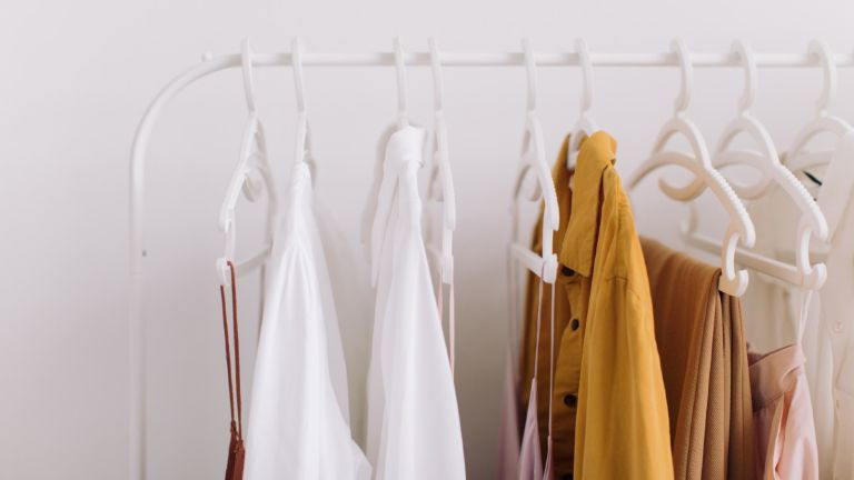 capsule wardrobe: clothes hanging on rail