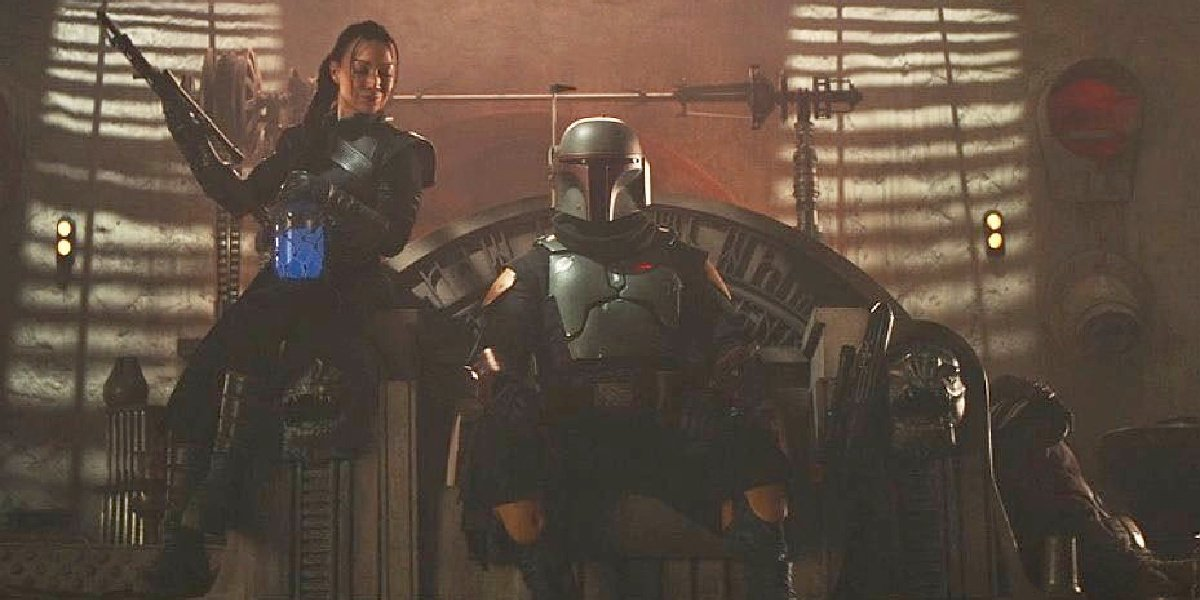 Boba Fett and Fennec at the end of Season 2 of The Mandalorian.