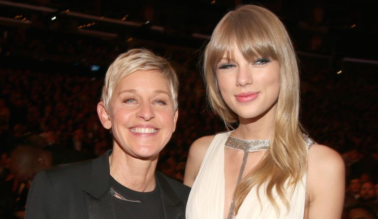 Television personality Ellen Degeneres and singer Taylor Swift attend the 55th Annual GRAMMY Awards at STAPLES Center on February 10, 2013 in Los Angeles, California