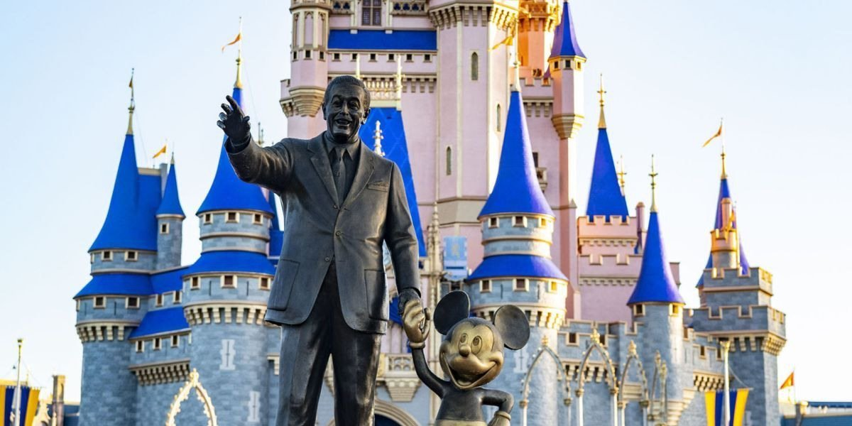 Walt Disney and Mickey statue in front of the Cinderella castle in Magic Kingdom