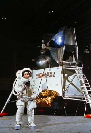 Neil Armstrong performs moonwalk training for Apollo 11 mission.