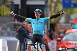 Astana's Jakob Fuglsang celebrates victory at the 2019 Liège-Bastogne-Liège