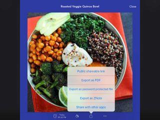 NOTEBOOK - Take Notes, Sync Screenshot: Quinoa bowl illustrates sharing options