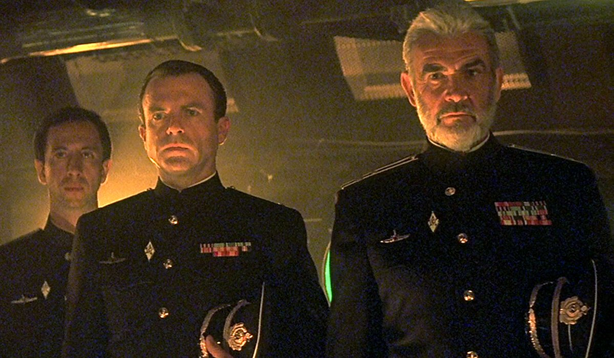 The Hunt For Red October Sam Neill and Sean Connery stand at attention on the bridge