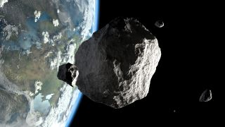 An artist's concept shows asteroids orbiting close to Earth.