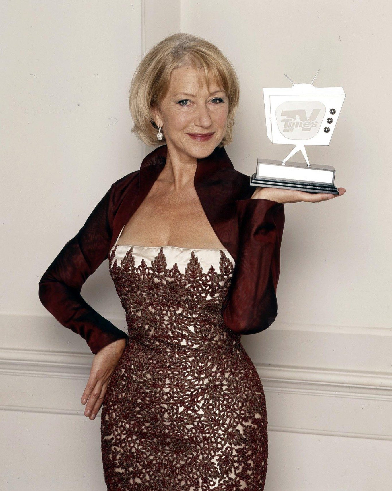 Helen Mirren accepting the favourite actress gong after a TV Times poll in 2005