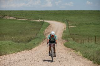 Past winner Alison Tetrick rode alone for much of day, and almost all of it as second female on the gravel.