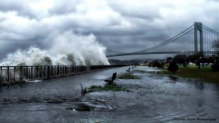 The Verrazano Bridge in Brooklyn as Hurricane Sandy approaches on Oct. 29, 2012.