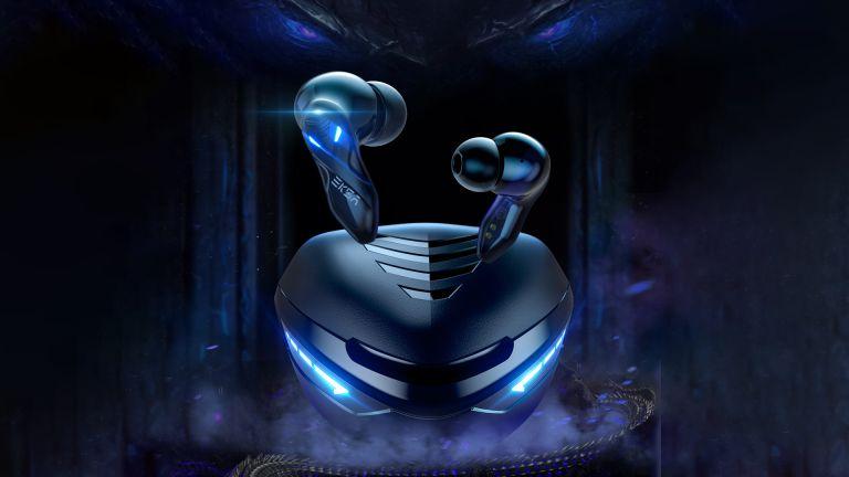 EKAS GT1 Cobra gaming wireless earbuds on dramatic dark background